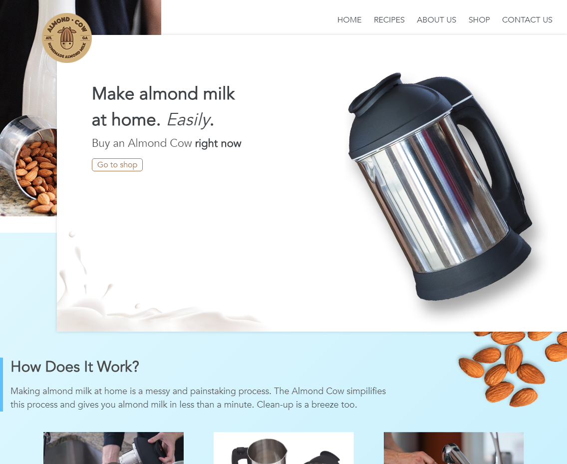 Almond Cow Shopify | notchsolutions.com
