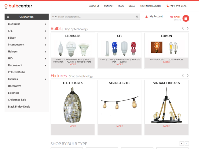 Bulb Center Magento Website Supported by Notch Solutions