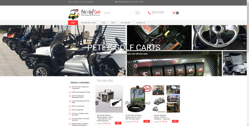 Pete's Golf Carts and Parts WooCommerce Website Design by Notch Solutions